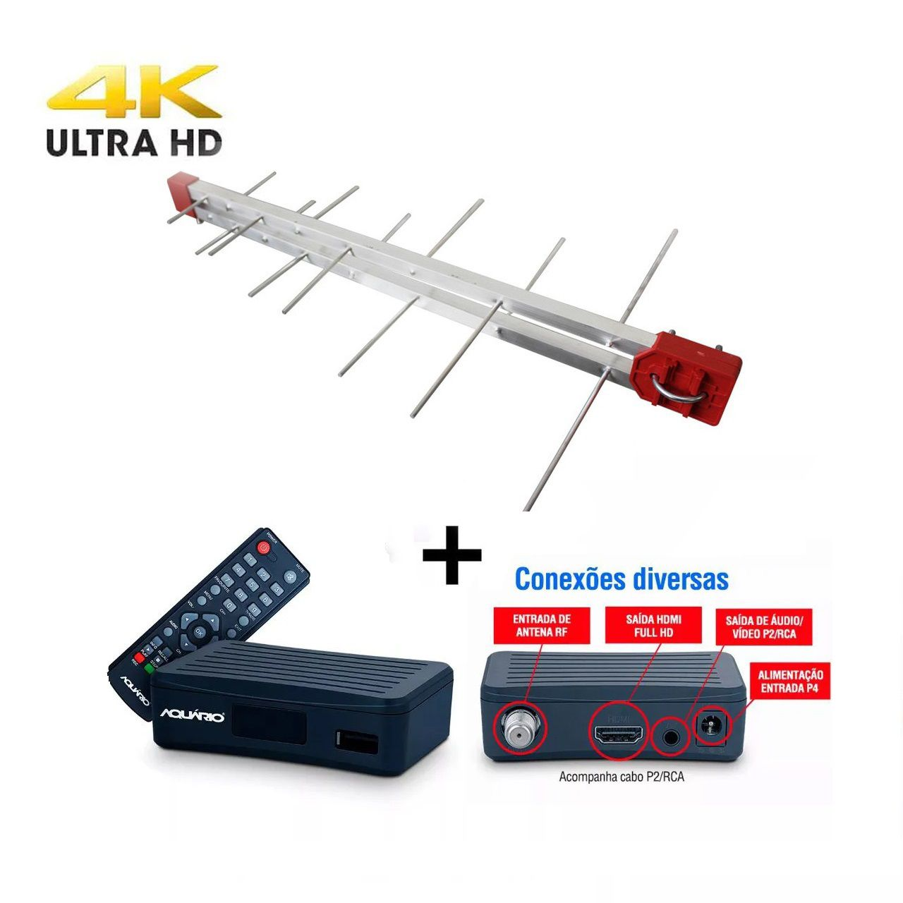 Kit Antena Digital 4K Log 20 Conversor DTV4000, 12mt Cabo Coaxial c/ Conector  4K