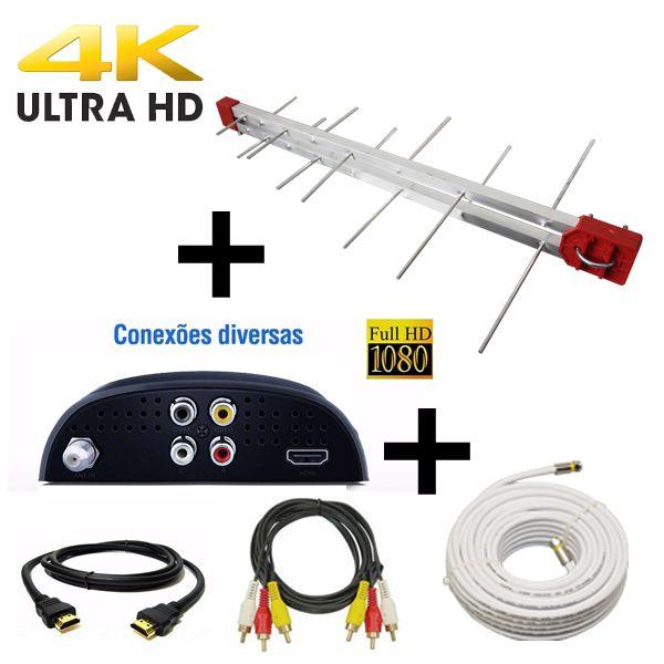 Kit Antena Digital 4K Log 16 Conversor DTV5000, 10mt Cabo Coaxial c/ Conector  4K