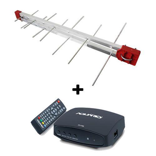 Kit Antena Digital 4K Log 16 Conversor DTV7000, 20mt Cabo Coaxial c/ Conector