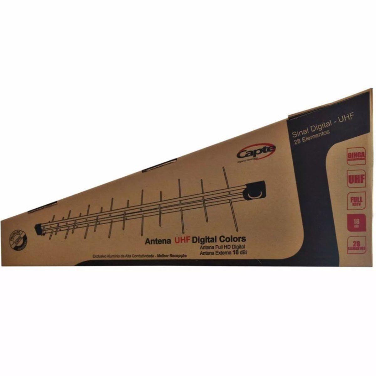 Kit Antena Digital 4K Log 28 com Cabo coaxial de 20mts e divisor 2x1 Capte