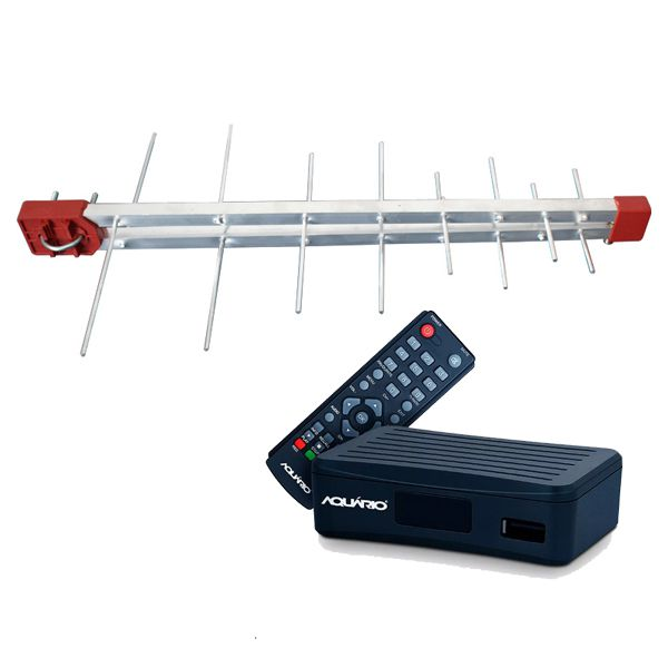 Kit Antena Digital Log 16 Conversor DTV4000, 10mt Cabo Coaxial c/ Conector