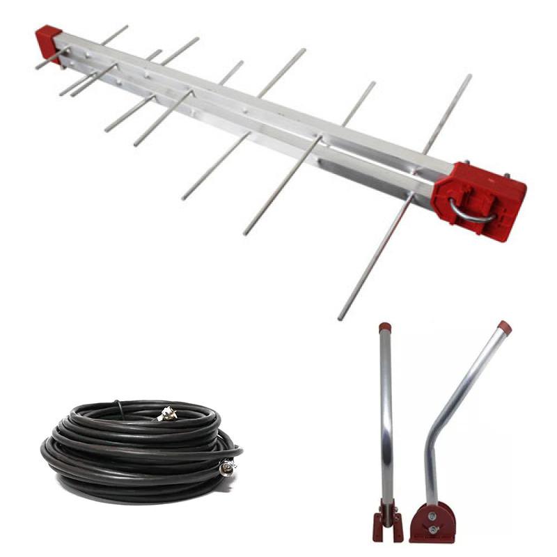 Kit Antena Tv Digital 4K Externa Log 16 Elementos c/ Mastro Articulado 45 cm e Cabo Coaxial Capte 12 m