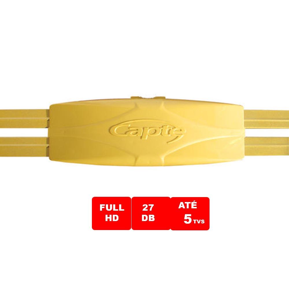 Kit Sinal Digital Antena Amplificada Ouro C/ Conversor Dtv 7000 Cabo 15m Capte