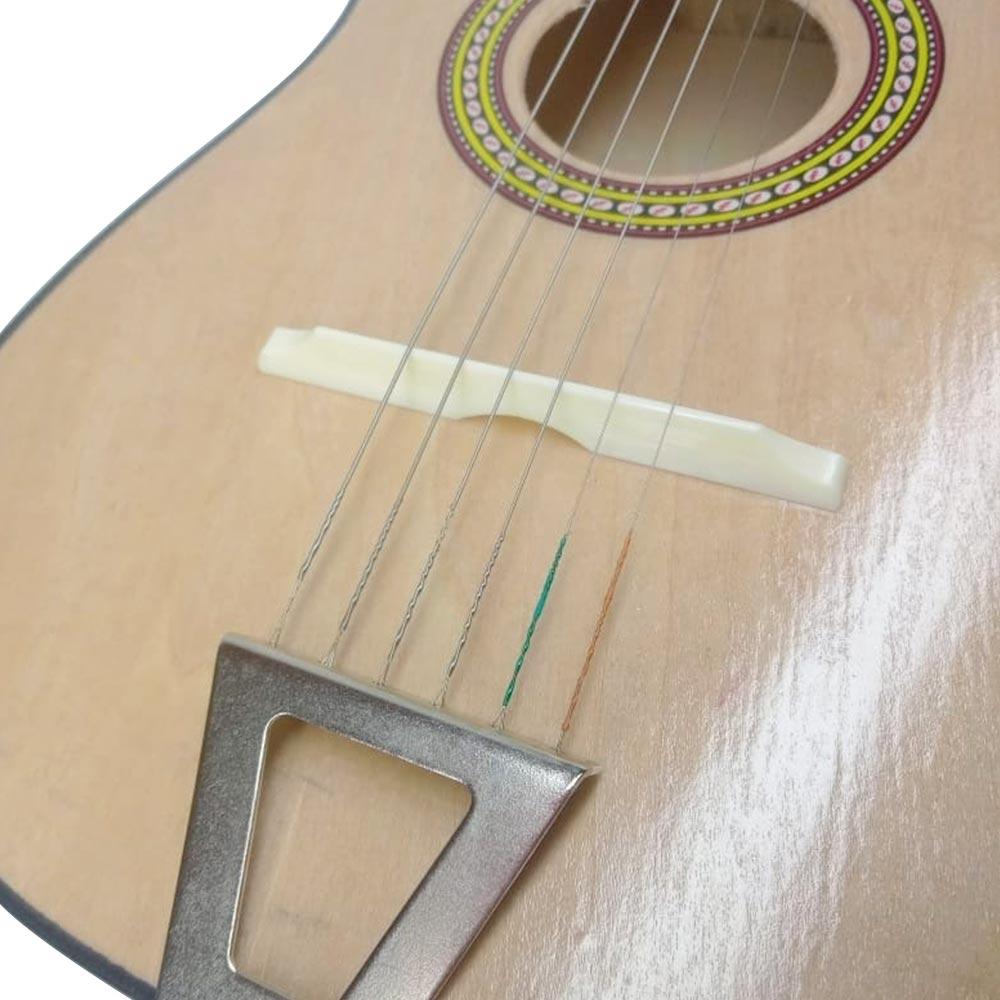 Violão de madeira Infantil Acústico Corda Em Aço e palheta
