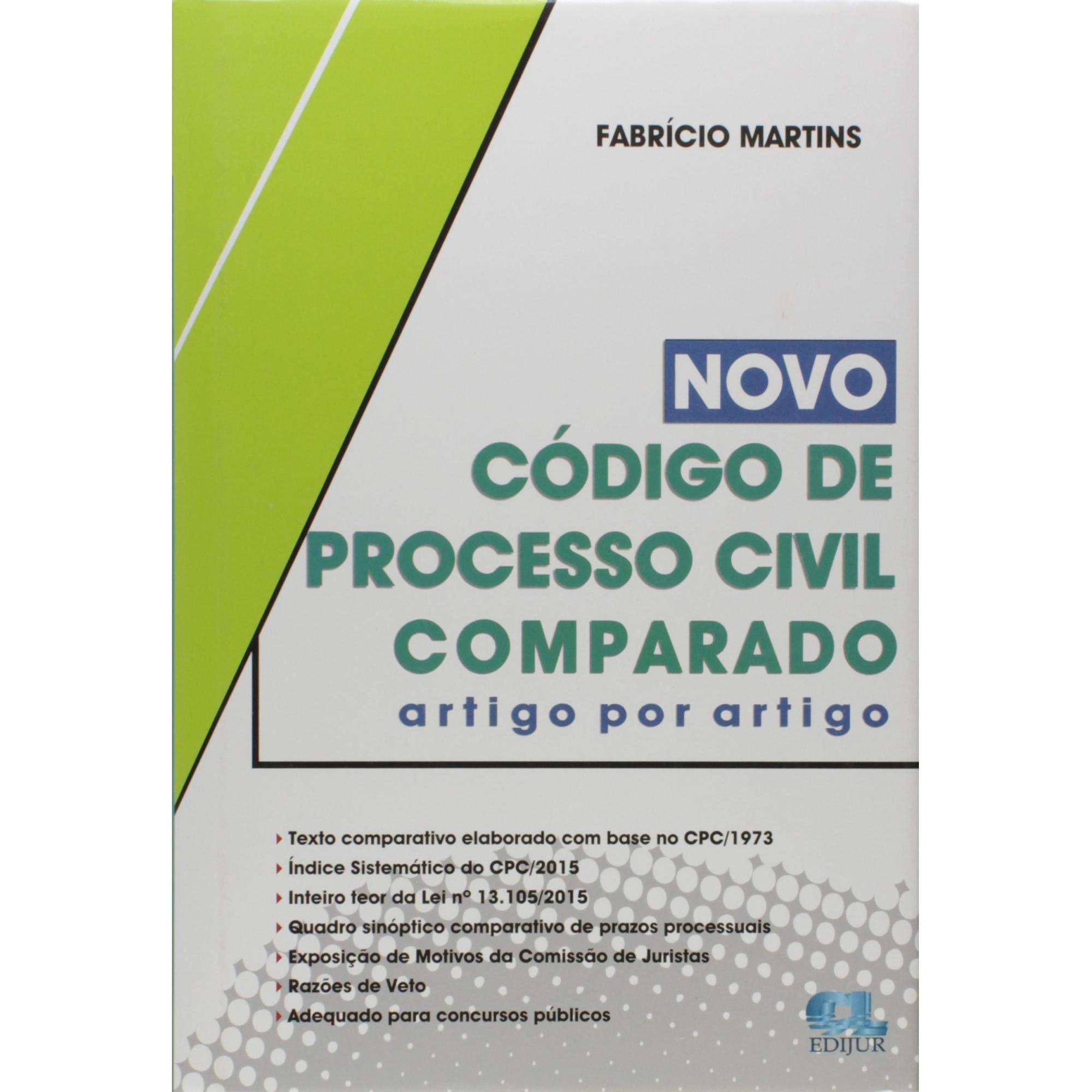 Livro Novo Código de Processo Civil Comparado. Artigo por Artigo