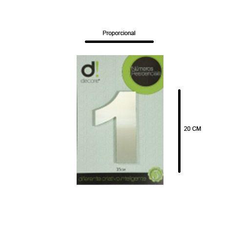 Número em alumínio Espelhado Polido Residencial N 1 20cm