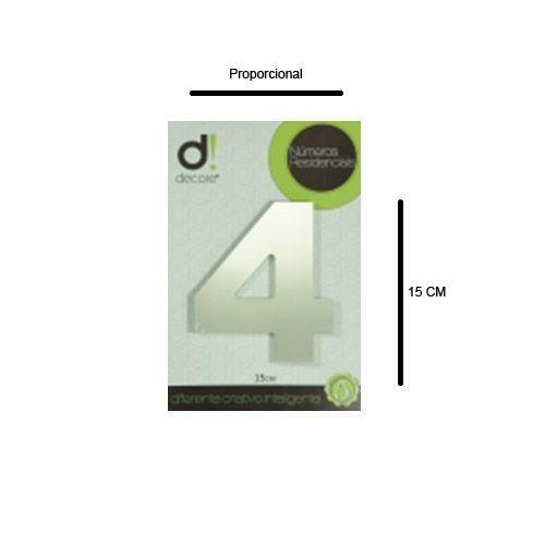 Número em aluminio Espelhado Polido Residencial N 4 15cm