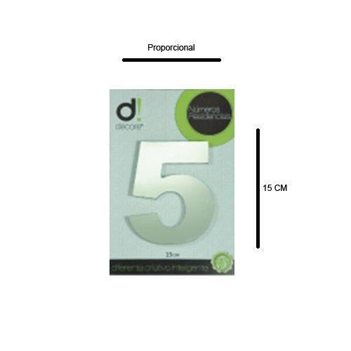 Número em alumínio Espelhado Polido Residencial N 5 15cm