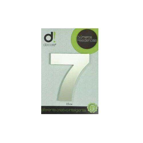Número em alumínio Espelhado Polido Residencial N 7 15cm