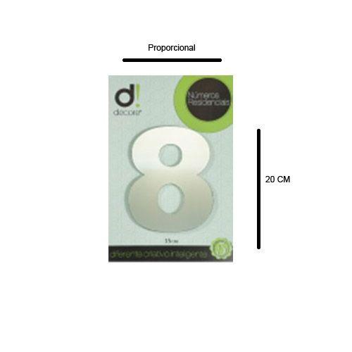 Número em alumínio Espelhado Polido Residencial N 8 20cm