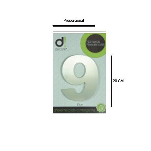 Número em alumínio Espelhado Polido Residencial N 9 20cm