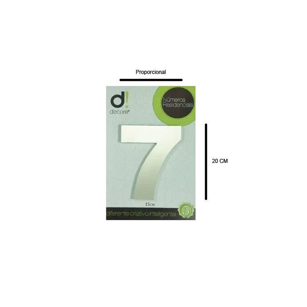 Número em alumínio Espelhado Polido Residencial N 7 20cm