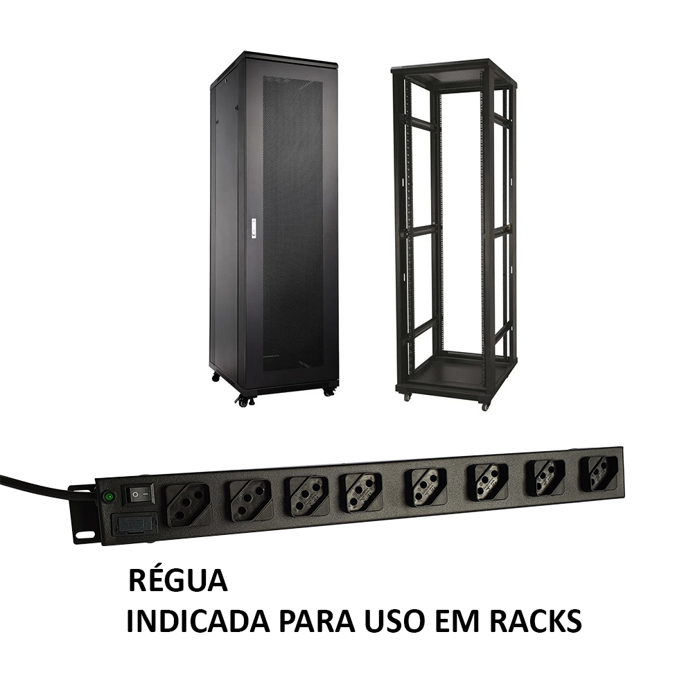 Régua 8 Tomadas Rack 19 polegada cabo 3 metros - 110v /220v  2200 Watts