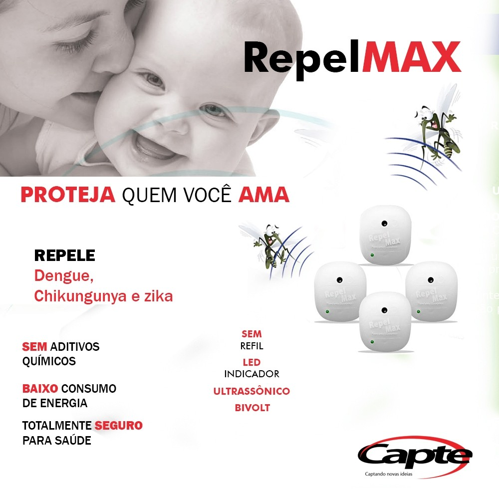 Repelente Eletrônico Repelmax Branco, Bivolt, Inaudível, Econômico, Leve 8 Unidades