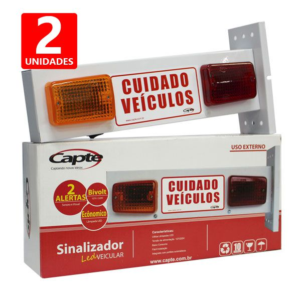 Sinalizador de Garagem Entrada e Saída de Veículos Led - Bivolt Capte LED12 - 2 unidades