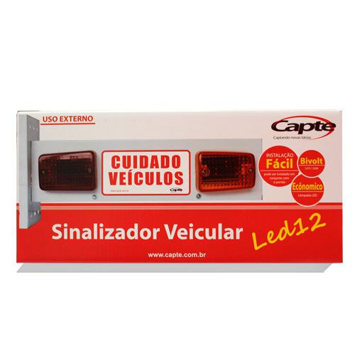 Sinalizador Veicular de Garagem Entrada e Saída de Veículos Led - Bivolt Capte LED12 - 2 unidades