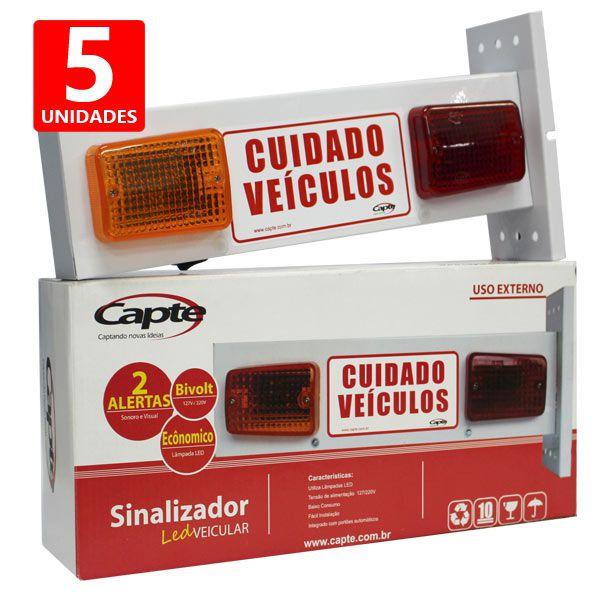 Sinalizador veicular de Garagem Entrada e Saída de Veículos Led - Bivolt Capte LED12 - 5 Peças