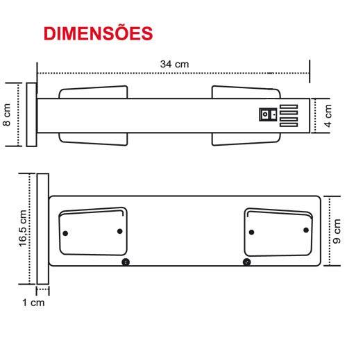 Sinalizador de Garagem Entrada e Saída de Veículos Led - Bivolt Capte LED12