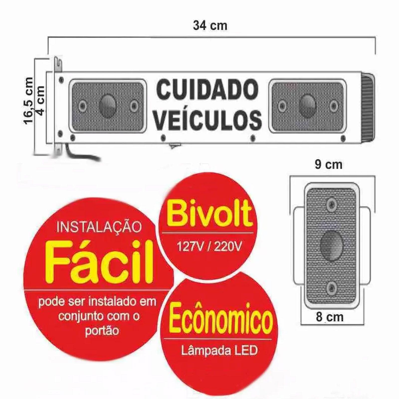 Sinalizador de veicular Garagem Entrada e Saída de Veículos Led Bivolt LED12
