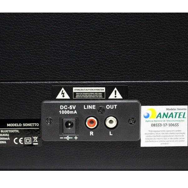 Vitrola Maleta Sonetto Raveo Toca Discos Preta - Vinil, USB e Bluetooth + Agulha Extra BRINDE