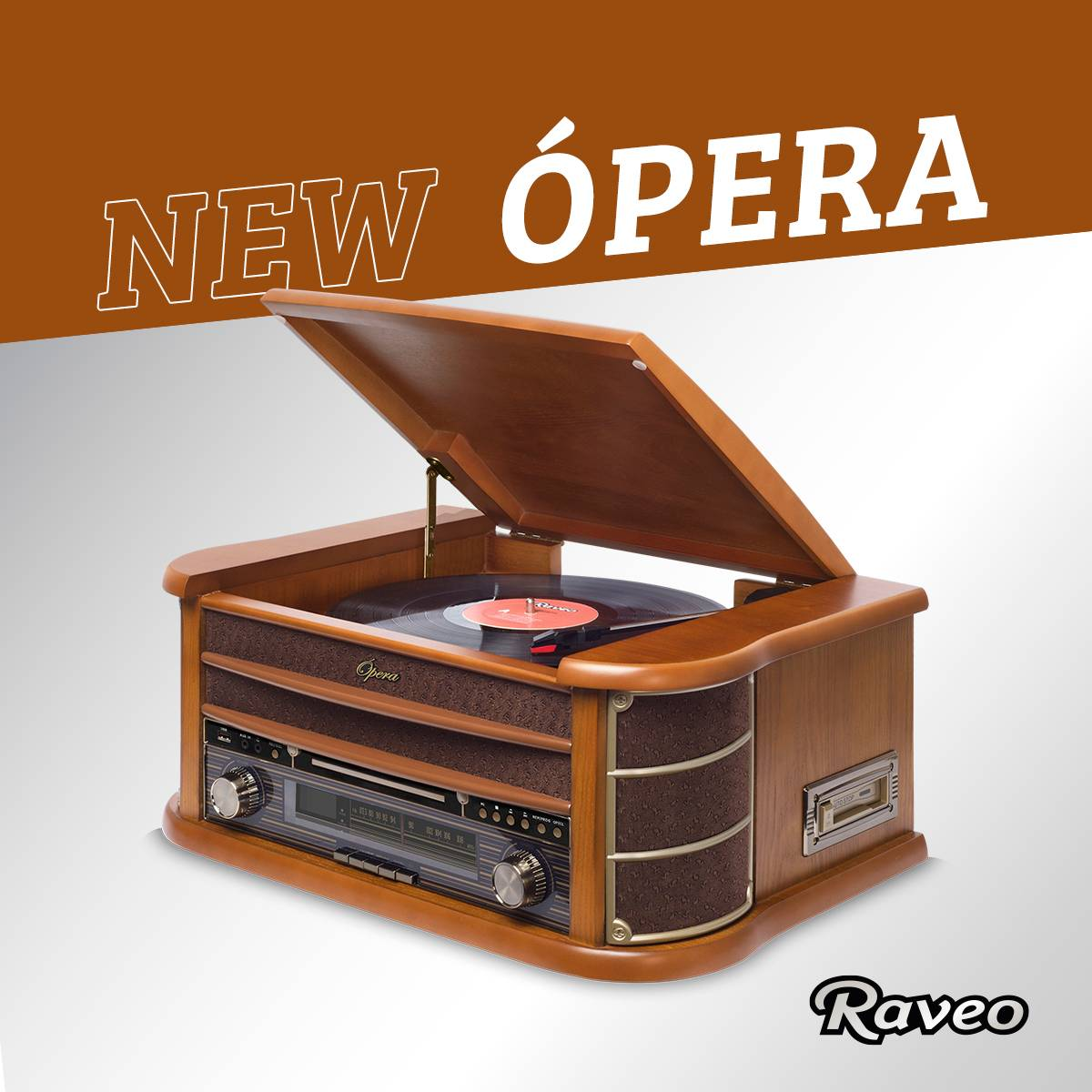 Vitrola Raveo New Opera BT com Bluetooth, Toca Discos, CD, FM, Fita K7, AUX, Converte Vinil e K7 em USB