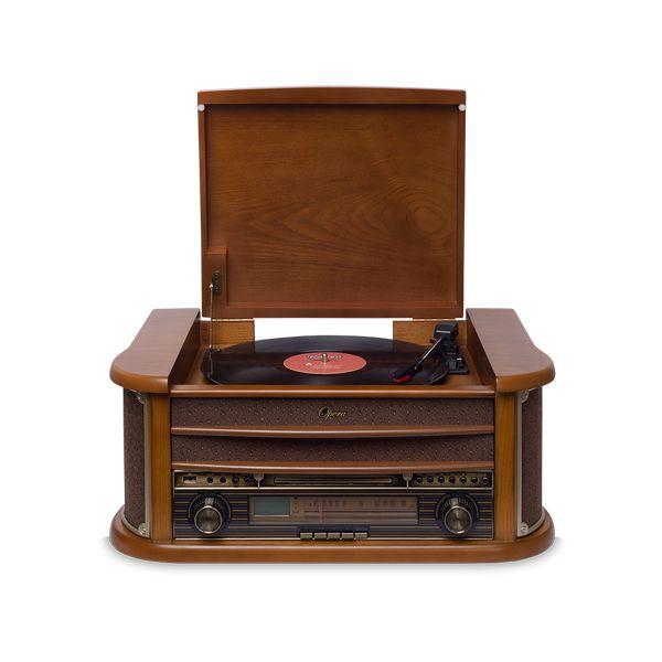 Vitrola Raveo Opera BT com Bluetooth, Toca Discos, CD, FM, Fita K7, AUX, Converte Vinil e K7 em USB + Agulha Extra
