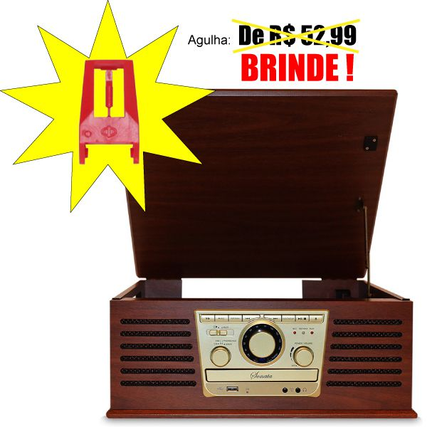 Vitrola Raveo Sonata Toca Disco de Vinil CD Rádio FM e USB + Agulha Extra de BRINDE!!