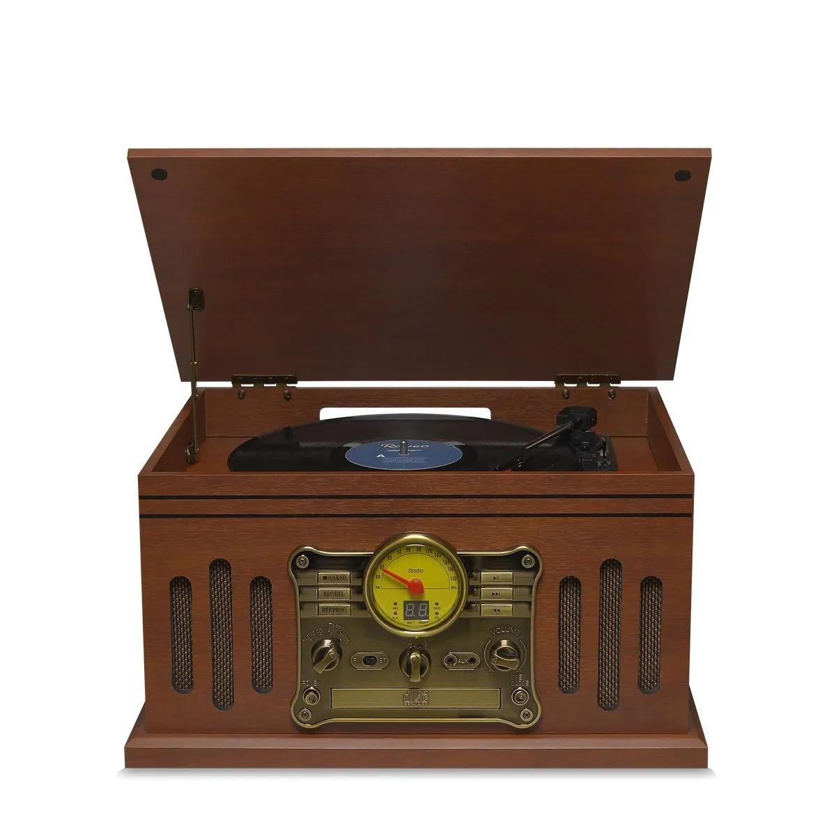 Vitrola Raveo Stadio Toca Disco Bivolt com Bluetooth USB Rádio FM e Cartão SD
