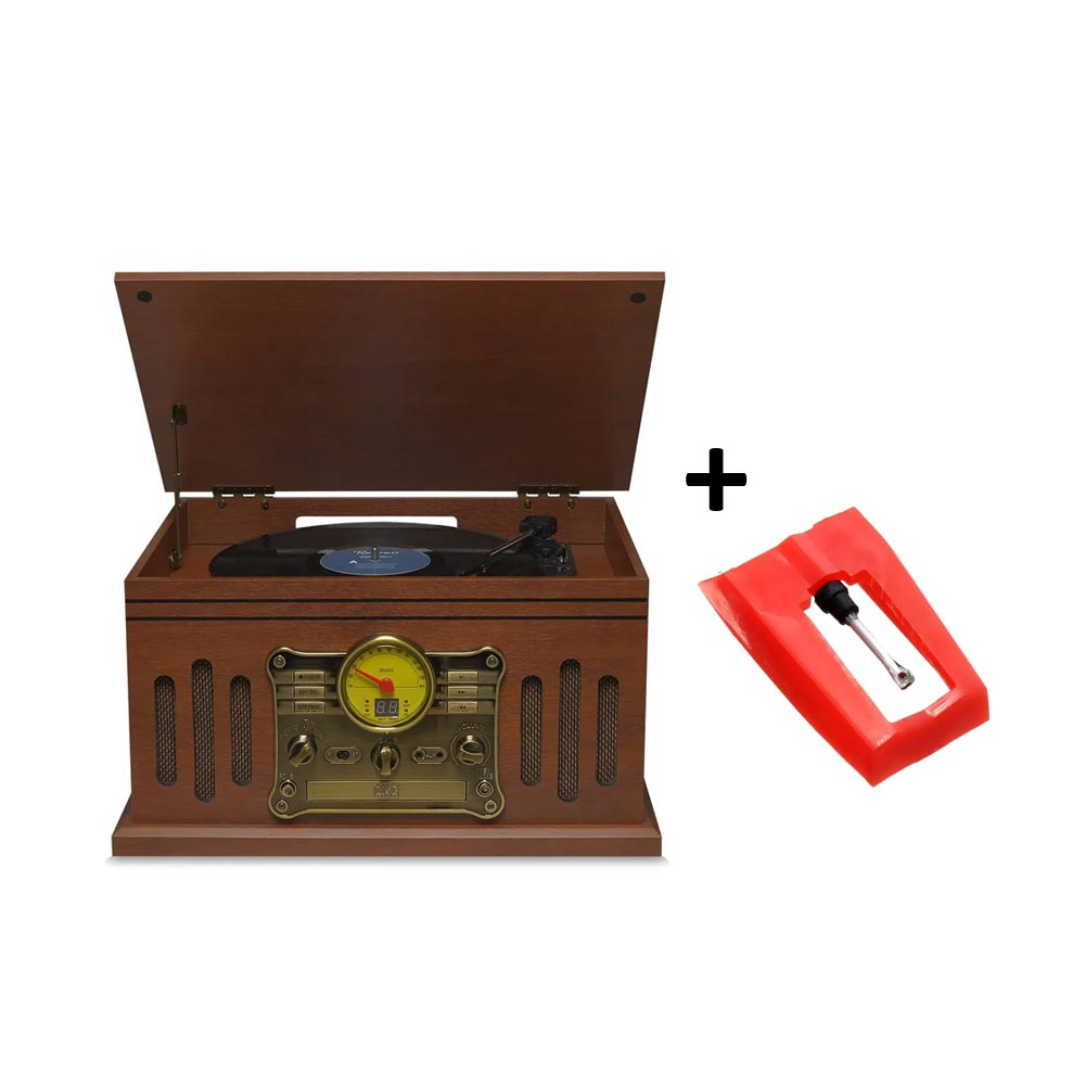 Vitrola Raveo Stadio Toca Disco Bivolt com Bluetooth USB Rádio FM e Cartão SD + Agulha Extra