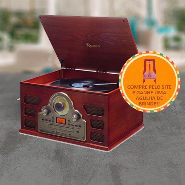 Vitrola Raveo Tenor Toca Disco Bivolt com Bluetooth USB Rádio FM e Cartão SD + Agulha Extra BRINDE!!