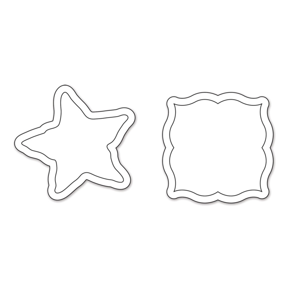 Faca de Corte Sizzix Movers & Shapers Magnetic Die Set 2PK - Label & Starfish  - Minas Midias