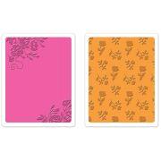 Placa de Textura e Emboss Sizzix - Border Blooms & Garden Roses Set