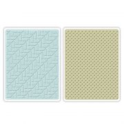 Placa de Textura Sizzix Embossing Folders - Houndstooth & Dots Set