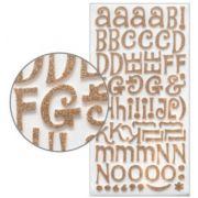 Adesivo Thickers Chipboard Alfabeto Glitter Dourado