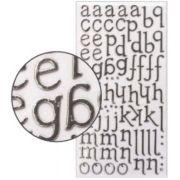 Adesivo Thickers Chipboard Alfabeto Minúsculo Foil Prata
