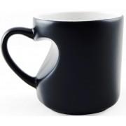 Caneca Mágica de Coração Preta Fosca de Porcelana p/ Sublimação