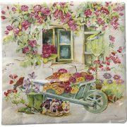 Guardanapo para Decoupage - Flores no Quintal