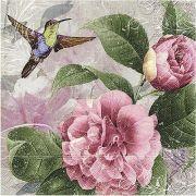 Guardanapo para Decoupage - Rosas com Beija Flor
