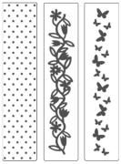 Kit de Placas para Relevo 2D Poá , Borboletas e Flores 32 x 146 mm c/ 3 un