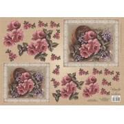 Papel para Decoupage 3D - Cesto de Rosas Vintage by Mamiko