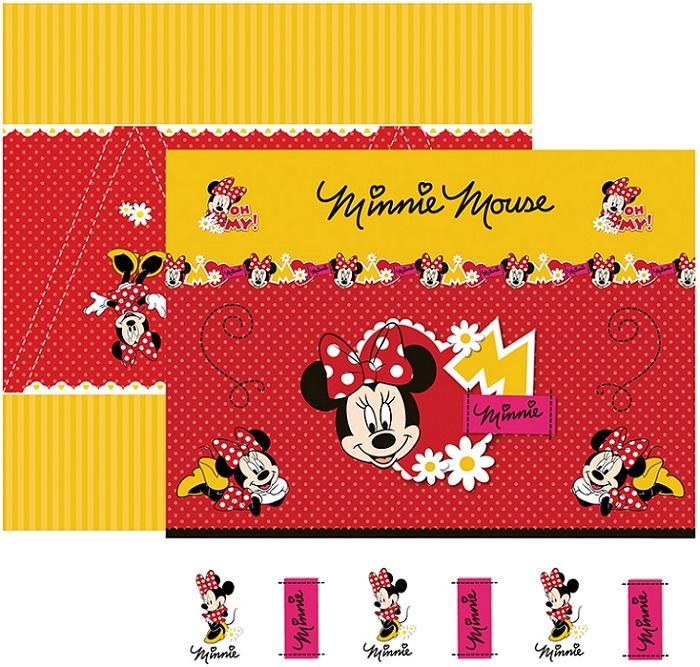 Folha para ScrapFesta Dupla-face Disney - Minnie Mouse 1 Cenário e Bandeirolas  - Minas Midias