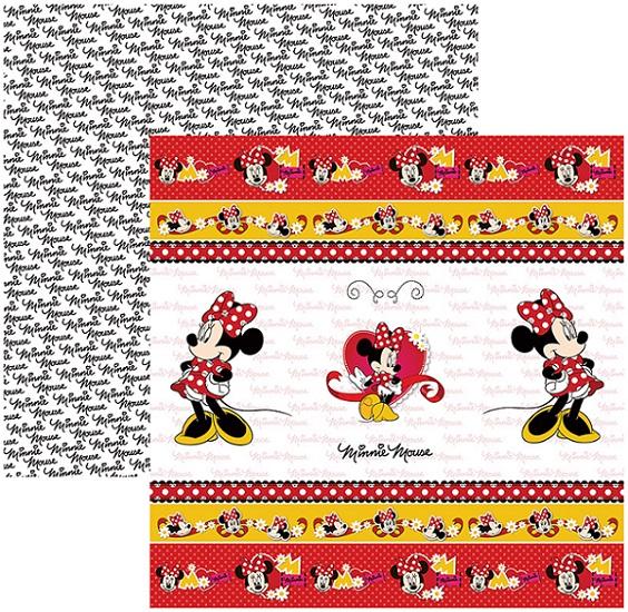 Folha para ScrapFesta Dupla-face Disney - Minnie Mouse 1 Fitas e Rótulos  - Minas Midias