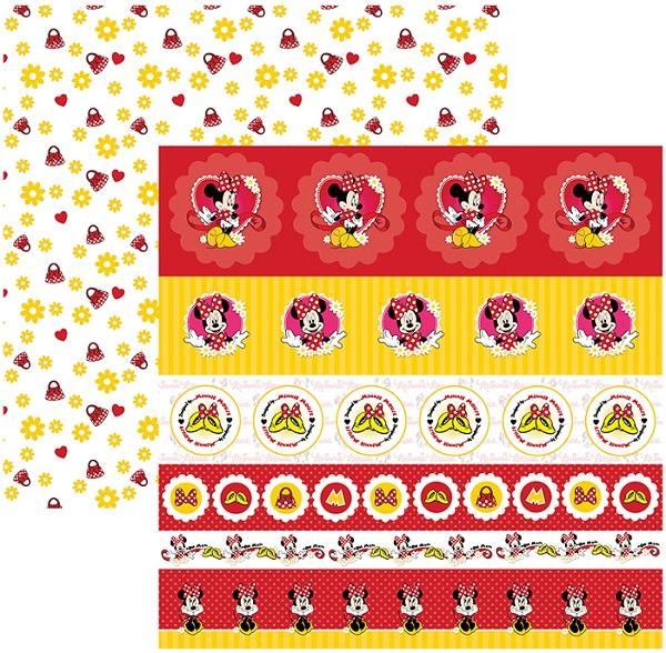 Folha para ScrapFesta Dupla-face Disney - Minnie Mouse 1 Selos e Tags  - Minas Midias
