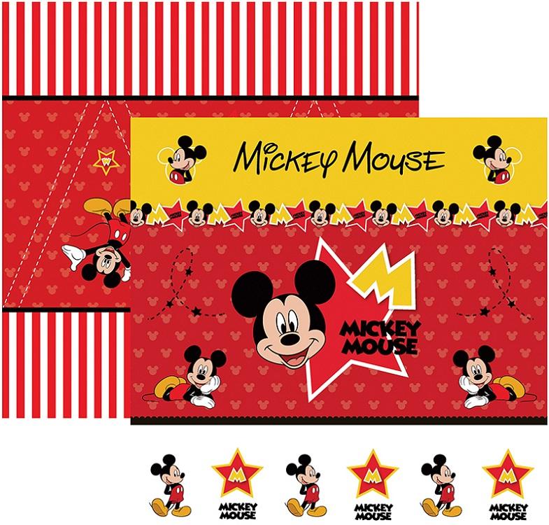 Folha para ScrapFesta Dupla-face Disney - Mickey Mouse 1 Cenário e Bandeirolas  - Minas Midias