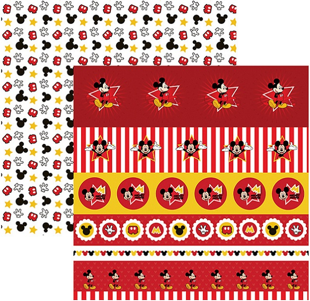Folha para ScrapFesta Dupla-face Disney - Mickey Mouse 1 Selos e Tags  - Minas Midias
