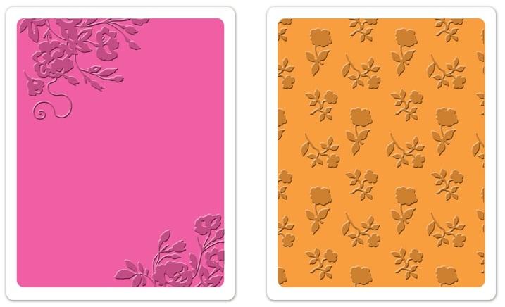 Placa de Textura e Emboss Sizzix - Border Blooms & Garden Roses Set  - Minas Midias