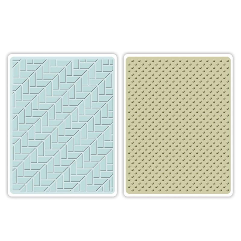 Placa de Textura Sizzix Embossing Folders - Houndstooth & Dots Set  - Minas Midias