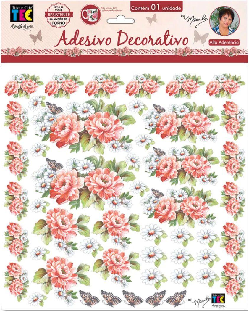 Adesivo Decorativo Crisantemos Coral by Mamiko  - Minas Midias
