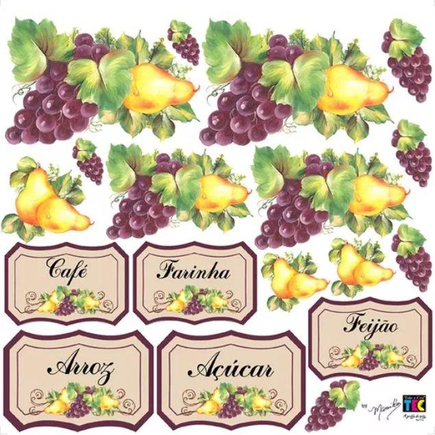 Adesivo Decorativo Frutas e Rótulos by Mamiko - FORA DE LINHA  - Minas Midias