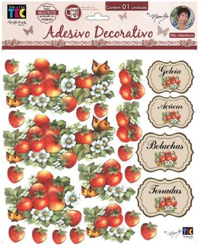 Adesivo Decorativo Morangos e Rótulos by Mamiko  - Minas Midias